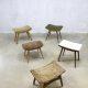 Vintage Scandinavian hocker, stool, ottoman, midcentury voetenbank