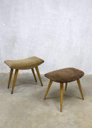 midcentury design modern poef hocker ottoman vintage voetenbank poef