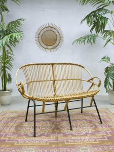 Vintage rattan sofa Rohe Noordwolde rotan lounge bank