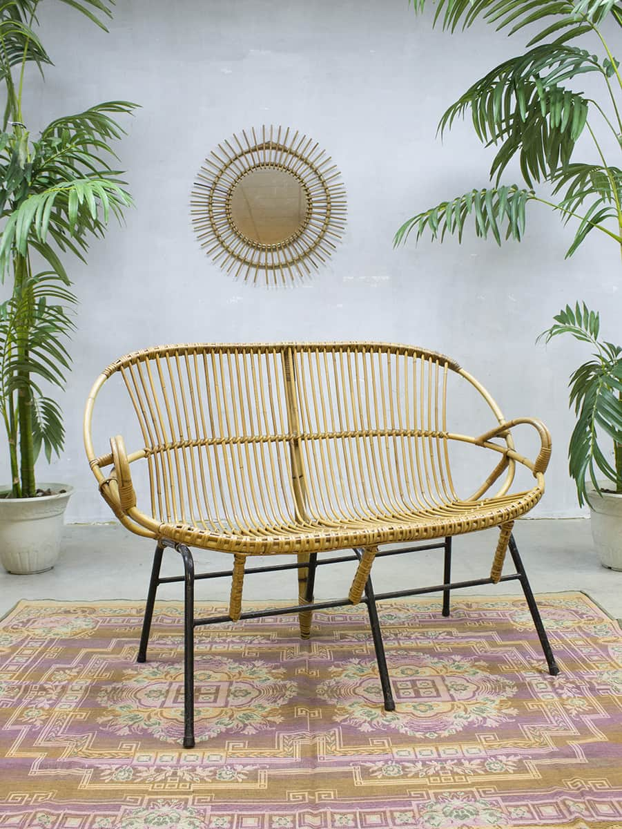vintage rattan sofa rohe noordwolde rotan lounge bank. Black Bedroom Furniture Sets. Home Design Ideas