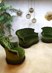 Vintage velvet seating group barok velours lounge set sofa fauteuils