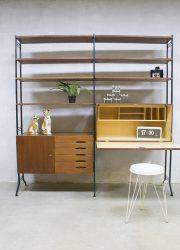 retro vintage wandkast modulair secretair, vintage design wall unit Danish style