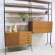 deense vintage design wandkast modulair, vintage design wall unit secretaire retro