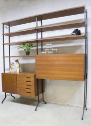 vintage wandkast kast retro midcentruy modern cabinet wall unit shelving system sixties