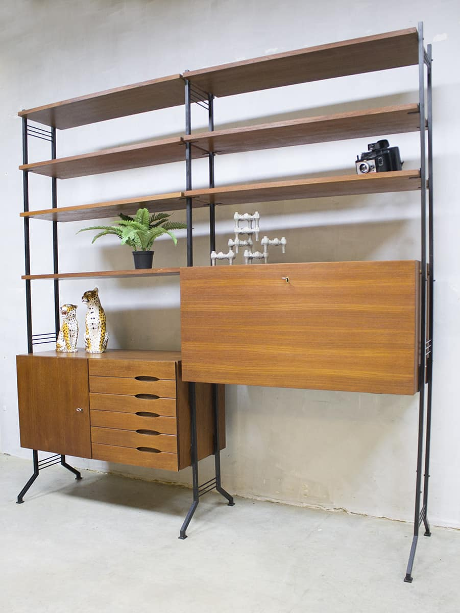 Hedendaags vintage wandkast kast retro midcentruy modern cabinet wall unit CY-69