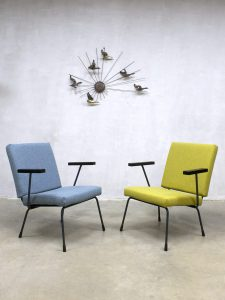 Gispen vintage arm chairs easy chairs Wim Rietveld model 415/1407