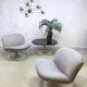 Vintage swivel lounge chairs Artifort F504 & coffee table Geoffrey Harcourt