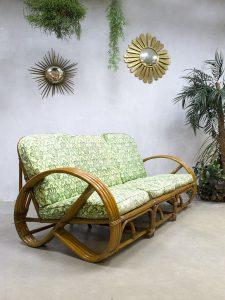 Vintage rotan bamboe bank rattan bamboo sofa Paul Frankl style