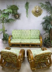 Vintage rotan bamboe rattan bamboo lounge set Paul Frankl style