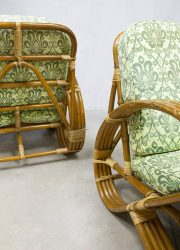 Vintage rattan bamboo lounge chairs Paul Frankl
