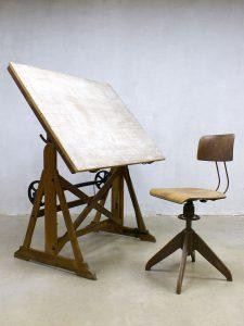 Vintage Ahrend de Cirkel drawing table industrial tekentafel