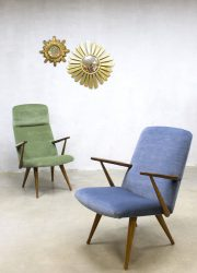 Vintage design velvet arm chairs Akerblom lounge fauteuils Zweden