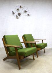 Hans Wegner lounge fauteuils armchairs Getama vintage design Denmark
