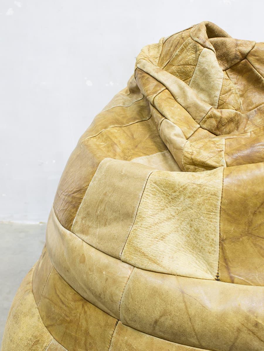 Vintage Patchwork Leather Bean Bag De Sede Zitzak Leer