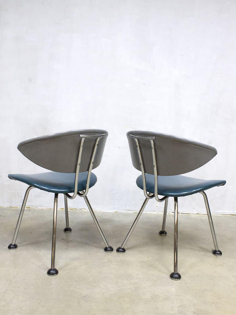 Vintage dinner chairs martin de wit eetkamer stoelen 7211 for Dutch design eetkamerstoelen
