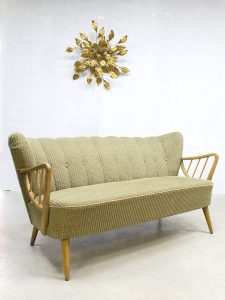 Midcentury fifties design vintage cocktail bank sofa corduroy