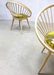 cirkel stoel spijlen stoel retro hout Scandinavië