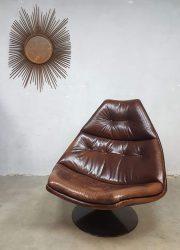 vintage draaifauteuil leer Artifort Geoffrey Harcourt leather swivelchair