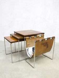 Vintage design nesting tables Brabantia bijzettafeltjes lectuurbak