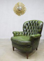 vintage leren chesterfield engels antiek groen
