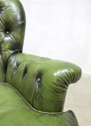 vintage leren lounge fauteuil chesterfield leather arm chair green