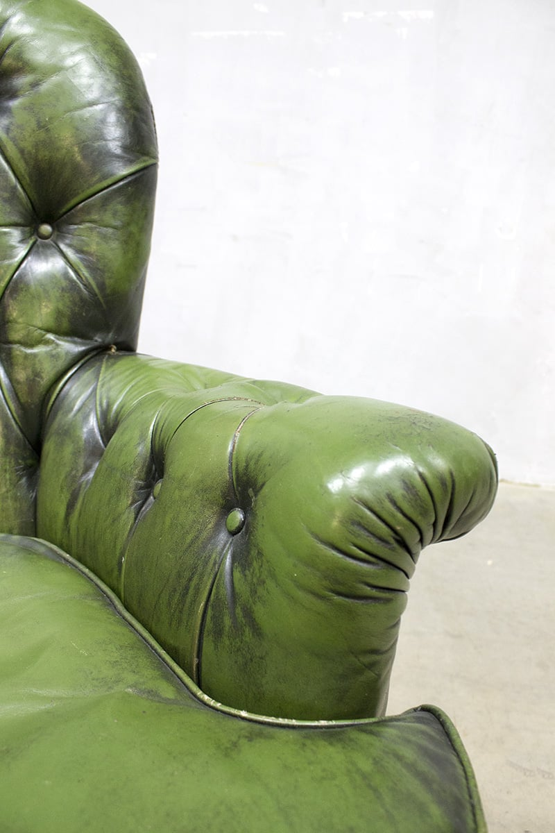 Chesterfield Fauteuil Leer.Vintage Leren Lounge Fauteuil Chesterfield Leather Arm Chair Green
