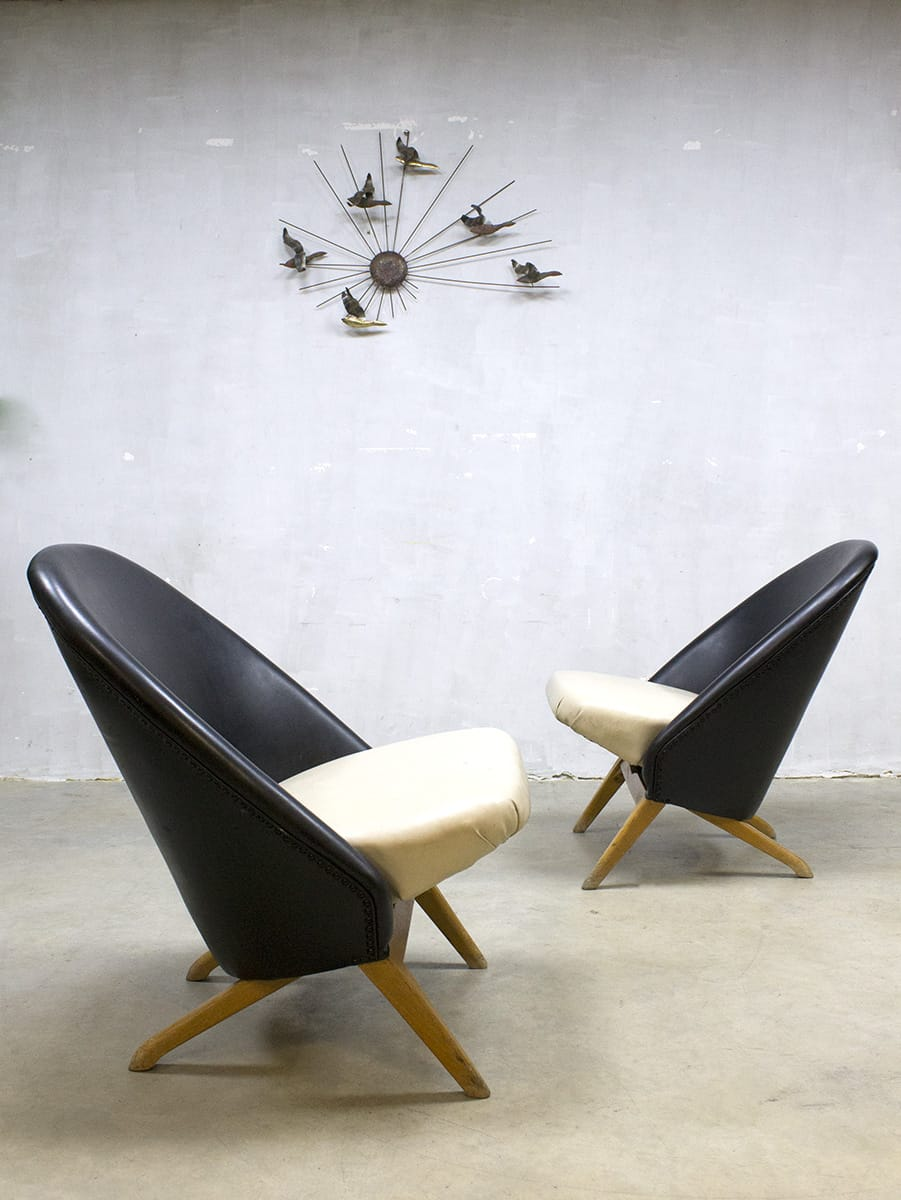 Vintage Congo Style Chairs Artifort Theo Ruth Dutch Set