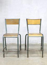 vintage Franse kruk industrieel Industrial French stool horeca