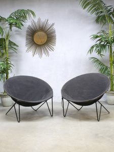 Midcentury vintage design basket chair balloon chairs