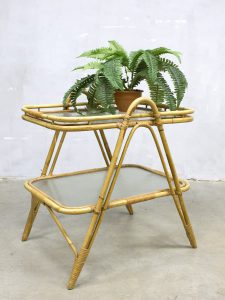 vintage rotan tafel bijzettafel bamboo rattan coffee table side table