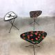 Vintage side table Erdal fifties triangel bijzettafel tripod expo table