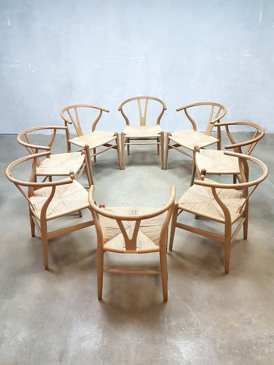 24 Design Stoelen.Vintage Wishbone Chairs Hans Wegner Carl Hansen Son Ch24 Stoelen