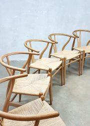 vintage Scandinavian design Wishbone chairs Hans Wegner Carl Hansen & Son Denmark stoelen CH24
