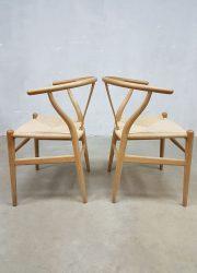 vintage eetkamerstoelen wishbone Hans Wegner Deens design Carl Hansen & Son