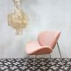 vintage retro lounge stoel fauteuil velours schelp stoe