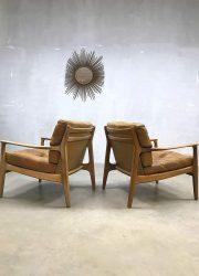 vintage design leren fauteuil stoel Deense stijl Scandinavisch design