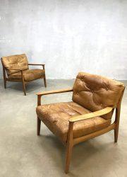 vintage Deense leren stoelen fauteuils leather armchair midcentury modern design