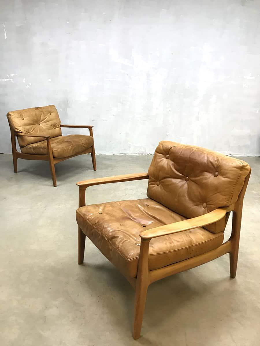 Leren Fauteuil Design.Vintage Deense Leren Stoelen Fauteuils Leather Armchair Midcentury