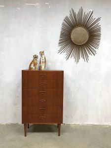 Vintage Deense ladekast teak chest of drawers cabinet Danish