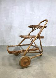 Vintage rotan bamboo rattan trolley serveerwagen Rohe Noordwolde