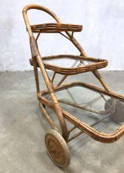 midcentury design Dutch design bamboo rattan trolley
