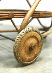 midcentury modern serving trolley fifties rattan bamboo Rohe Noordwolde