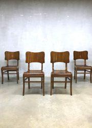 retro vintage houten eetkamer stoelen art deco stijl
