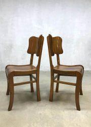 vintage teak houten stoel stoelen dinner chairs midcentury modern