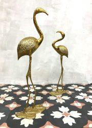 Vintage goudkleurige flamingo brass crane bird gold decoration