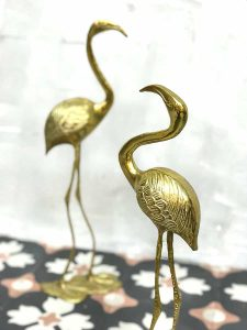 Vintage goudkleurige vogel flamingo brass crane bird gold decoration