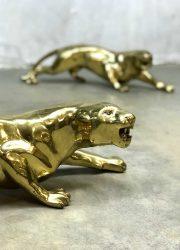 Vintage gouden tijger brass tiger leopard panter sculpture decoration
