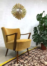Vintage cocktail stoel chair gold velvet clubfauteuil oker velour