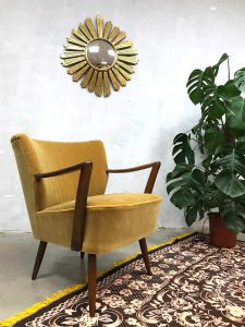 Vintage cocktail stoel chair gold velvet clubfauteuil oker velour
