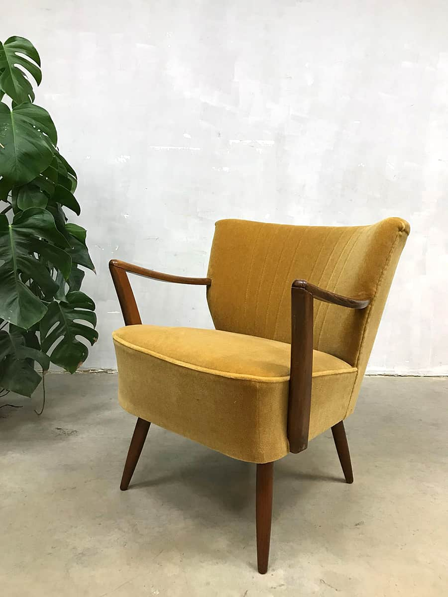 Favoriete Vintage cocktail stoel chair gold velvet clubfauteuil oker velour @DH07